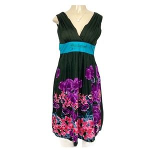 DESIGUAL Floral V-Neck Dress Green NWT XS